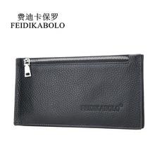 FEIDIKABOLO Men Genuine Leather Wallet Business Card Holder Wallet Credit Card Case ID Holders Purse Porte Carte Cardholder Man цена в Москве и Питере