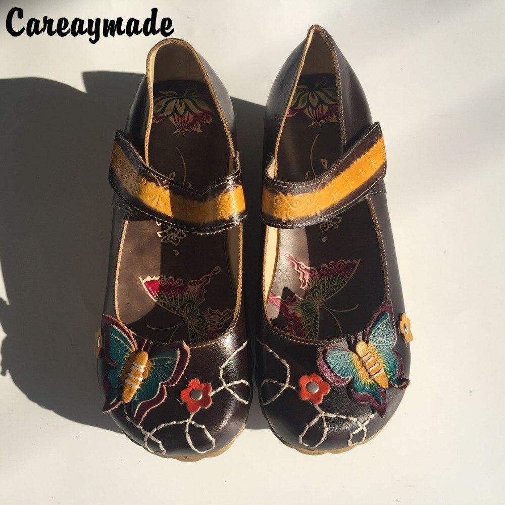 Careaymade الشعبية نمط رئيس طبقة جلد البقر نقية اليدوية منحوتة الأحذية ، الرجعية الفن موري فتاة الأحذية ، المرأة صندل كاجوال ، البني-في أحذية نسائية من أحذية على  مجموعة 1