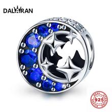 DALARAN Moon Stars Blue Silver Beads 925 Sterling Silver Charms Fit Bracelet Necklace For Women Jewelry Making Girlfriend Gift sweet romantic that s ok major suit moon stars pendeloque cut necklace 114swr xiangl silver 925 jewelry christmas gift boho