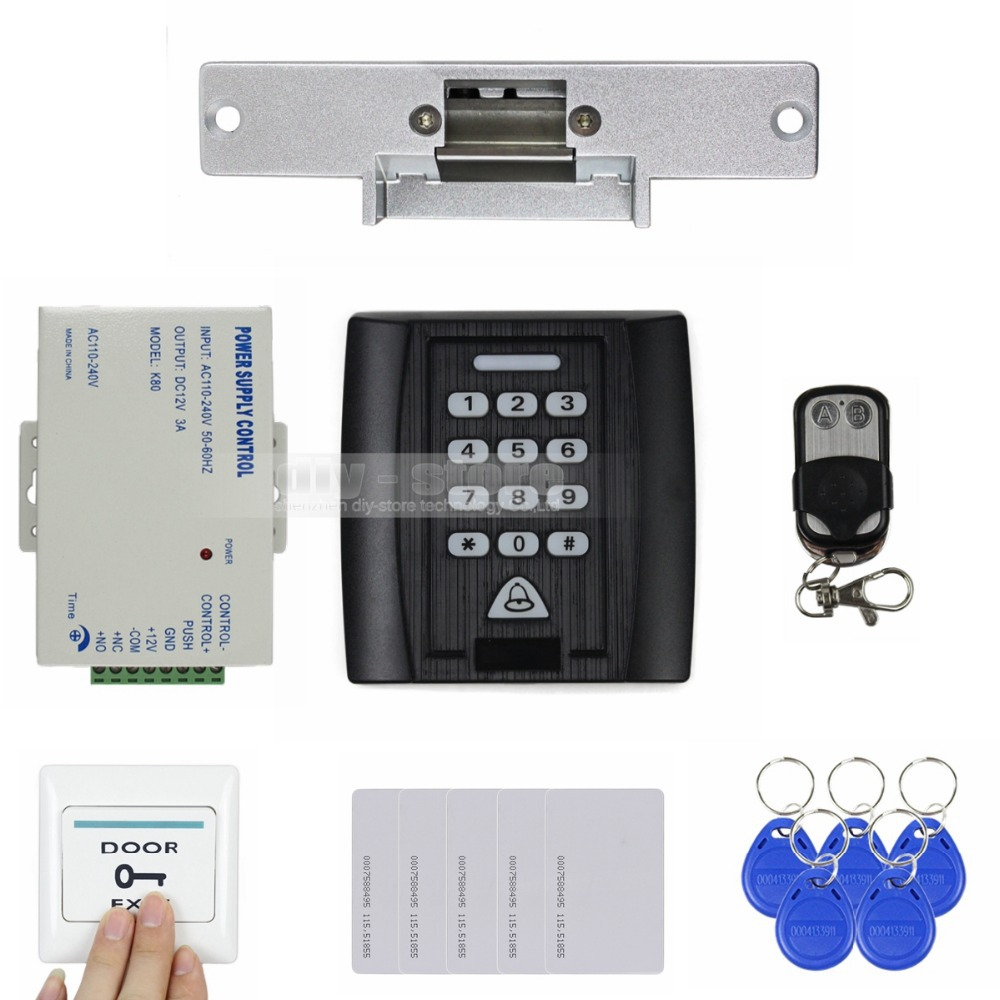 DIYSECUR Strike Lock Door Lock 125KHz RFID Reader Password Keypad Access Control System Security Kit + Exit Button KS158 diysecur 125khz rfid metal case keypad door access control security system kit electric strike lock power supply 7612
