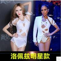 2016 European And Star Models Bar Night Games Ds Sexy Singer Gauze Deep V Neck Dress