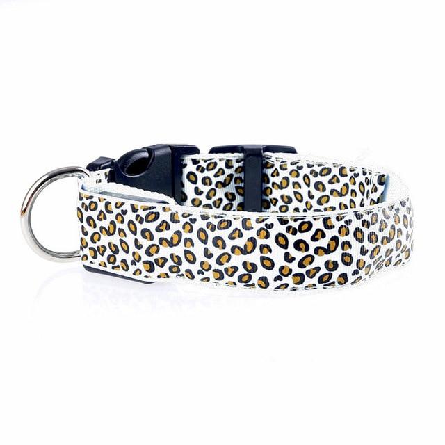 Adjustable LED Light Glow Pet Collar Leopard Nylon Pet Dog Cat Night Safety Luminous Flashing Necklace Glowing Neck Belt XWBE. 13