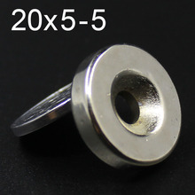 10Pcs 20x5-5 Neodymium Magnet 20mm x 5mm Hole 5 N35 NdFeB Round Super Powerful Strong Permanent Magnetic imanes Disc