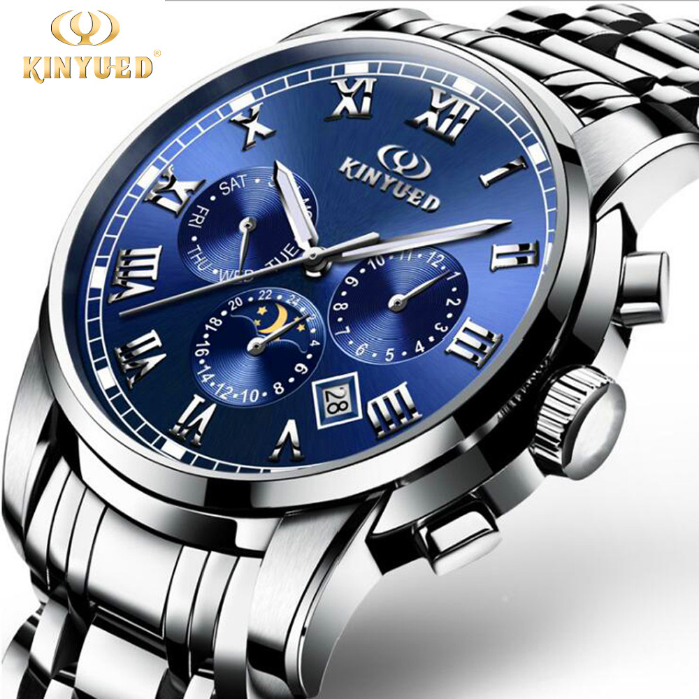 KINYUED Automatic Watch Men Blue Dial Business Mechanical Self Winding Watches Moon Phase Calendar Luminous Reloj Hombre Box