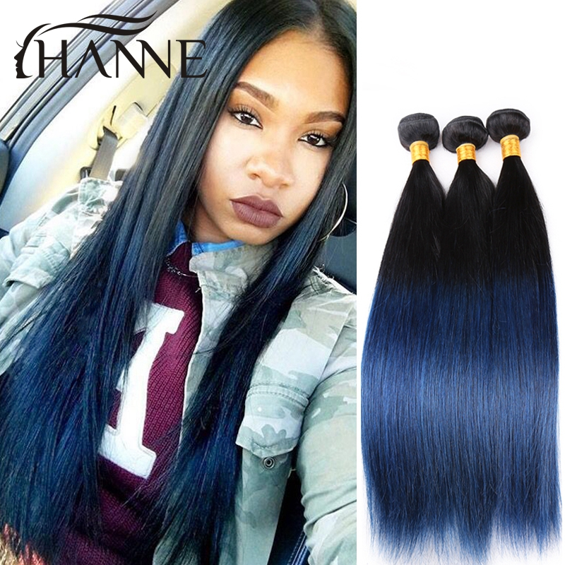 Straight Peruvian Dark Roots Blue Ends Human Hair 3pcslot