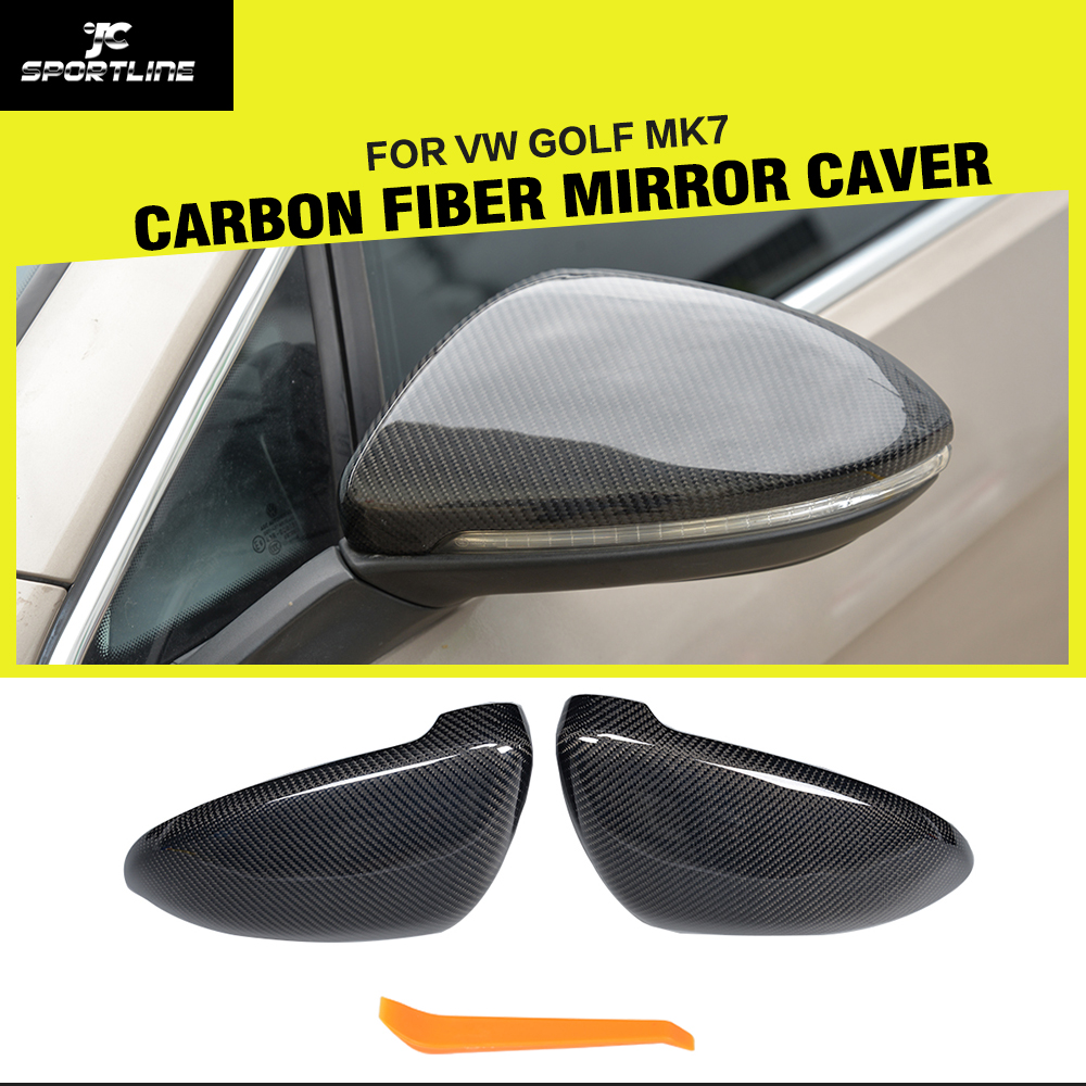 Replacement Type Carbon Fiber Car Side RearView Mirror Covers Trim for Volkswagen VW Golf 7 VII MK7 GTI R 2014 - 2017 2pcs carbon fiber side mirror caps covers set for volkswagen golf mk7 20014 2015