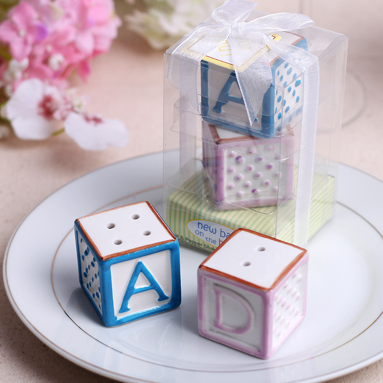 Free Shipping New Baby on the Block Ceramic Baby Blocks Salt & Pepper Shakers Wedding Decoration Gifts Favors 30 set
