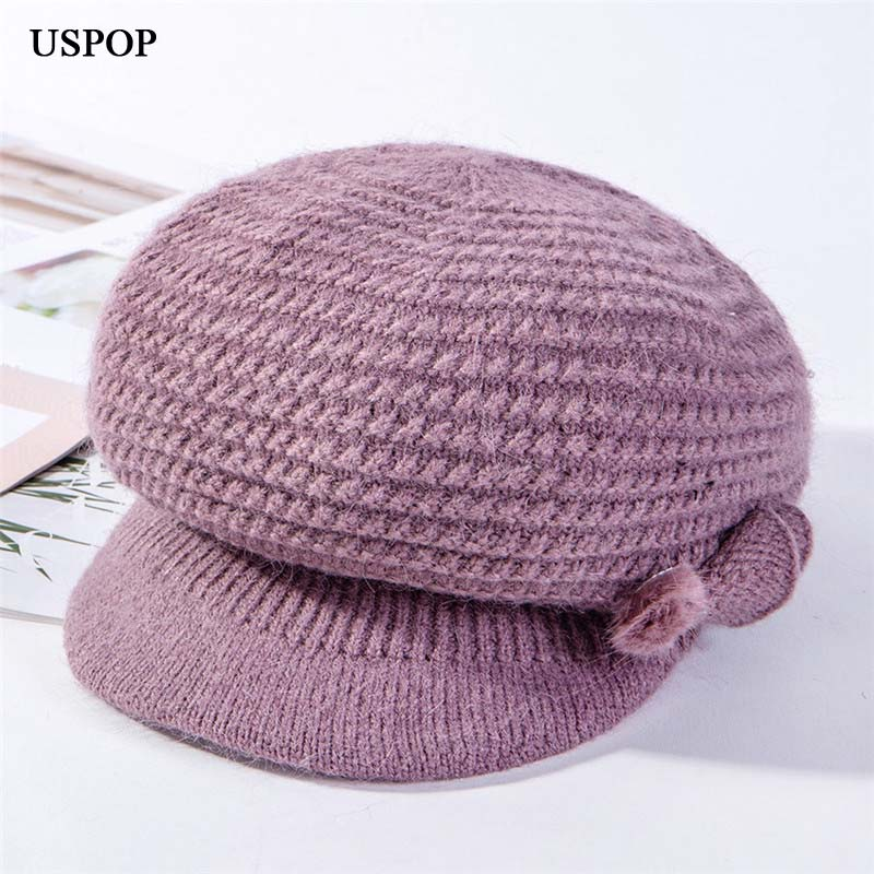 USPOP 2019 New Winter Caps Women Knit Octagonal Hat Thick Warm Velvet Lining Knit Hats Solid Color Newsboy Caps Berets Mom Caps
