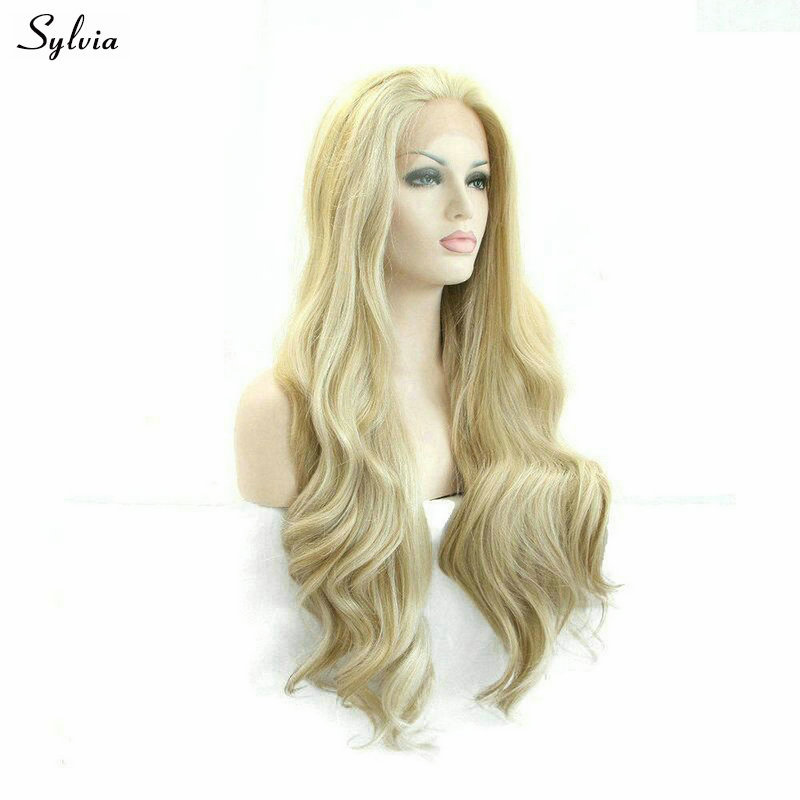 Synthetic Wigs Sylvia Synthetic Wigs Heat Resistant Lace Front Wig For Women Wigs Hair Highlight Blonde Color Middle Part Hair Long Body Wave Discounts Price Hair Extensions & Wigs