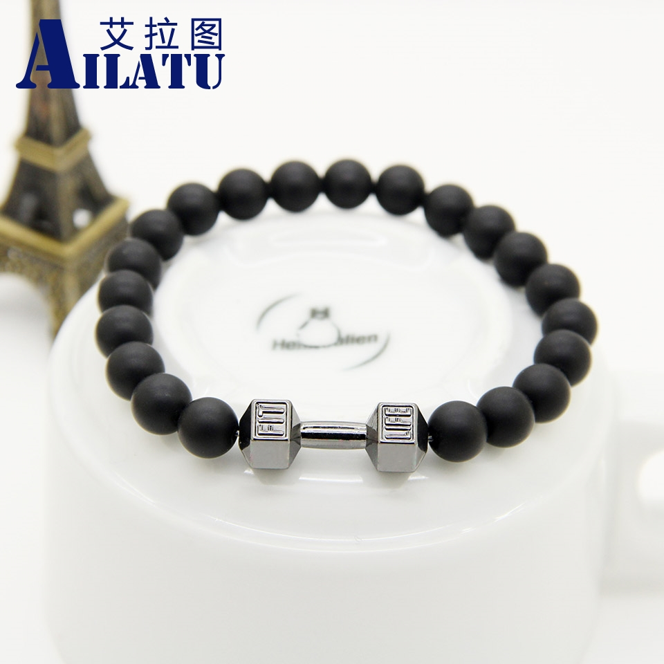 Ailatu Alloy Metal Barbell Jewelry 8 mm Black Matte Glass Beads Fashion Fit Life Dumbbell Bracelet