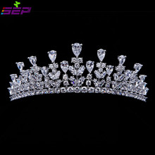 Full AAA CZ Tiara King Crown Wedding Hair Jewelry Micro Pave Party Headpiece Women Birthday Bridal accessories TR15013