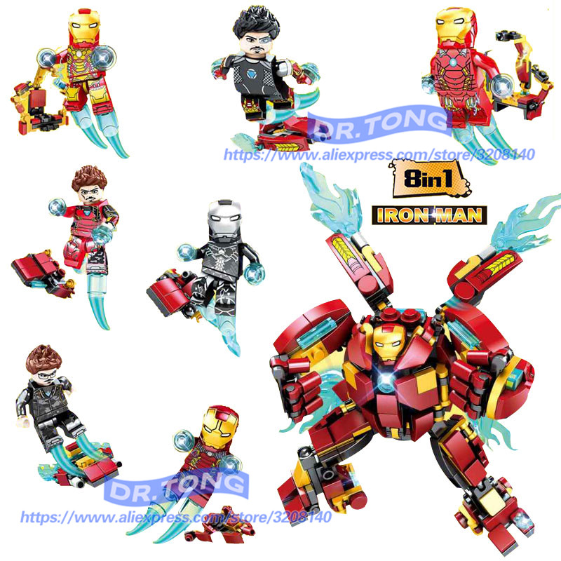80PCS/LOT Legoingly Super Heroes Avengers Figures Iron Man 8 In 1 Hulk Buster Ironman Action Bricks Set Model Toys Gifts DLP9080 single sale large figures super cool hulk buster thanos legoing dogshank venom iron man building blocks toys gifts kids toys