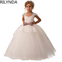Lace Flower Girls Dresses for Wedding Ruffles Ribbon Bow Sash Girls First Communion Dresses Prom Party Gownslx