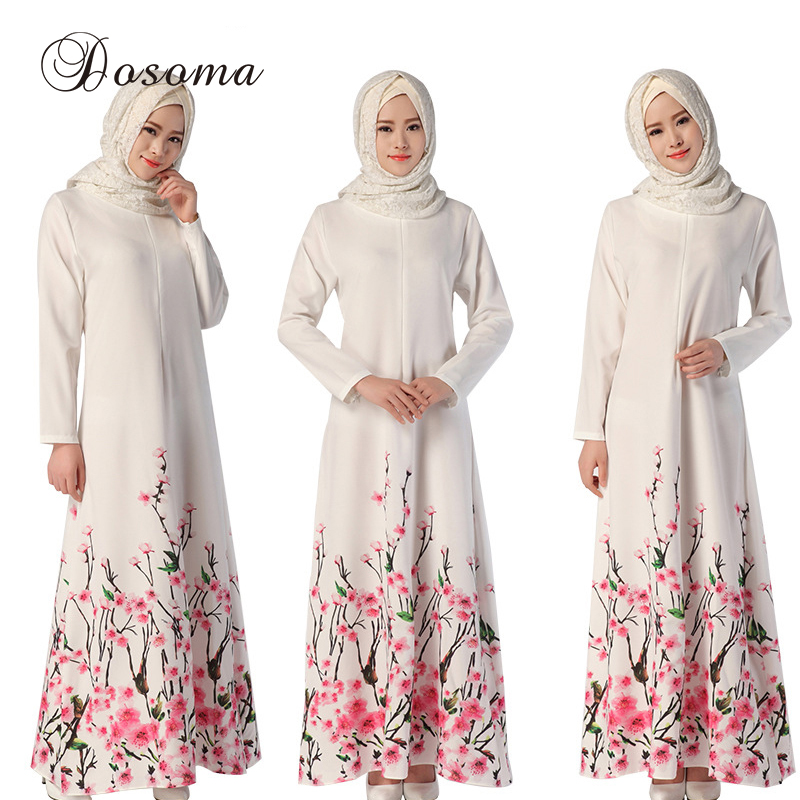 Muslim Print Flower Dress Women Abaya Long Sleeve Islamic Clothing Robe Kimono Turkey Kaftan
