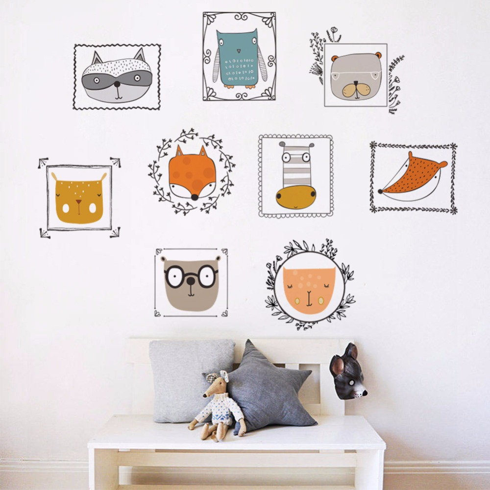 % 3d Cartoon animal owl fox wall stickers home decor for kids room living room Bathroom kitchen diy photo wall sticker murals