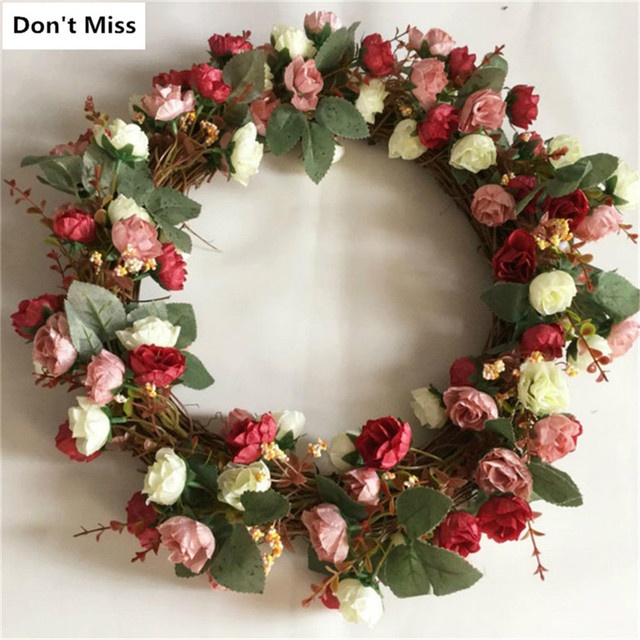 Christmas Wreathes Decorations Simulation Garland Artificial Flower Wreath Home Wedding Party Garden Decor Threshold Fake Flower