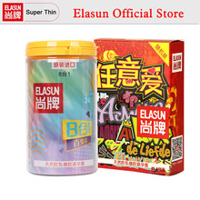 ELASUN 40 pcs 9 Types Ultra Thin Ice and Fire Dotted Double Lubricated Condom Arbitrary Love