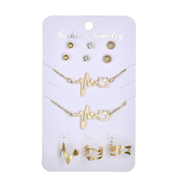 MissCyCy 2017 New Gold Color ECG Necklae Ring Bracelet Rhinestone Earrings for Women Jewelry Sets Punk Style