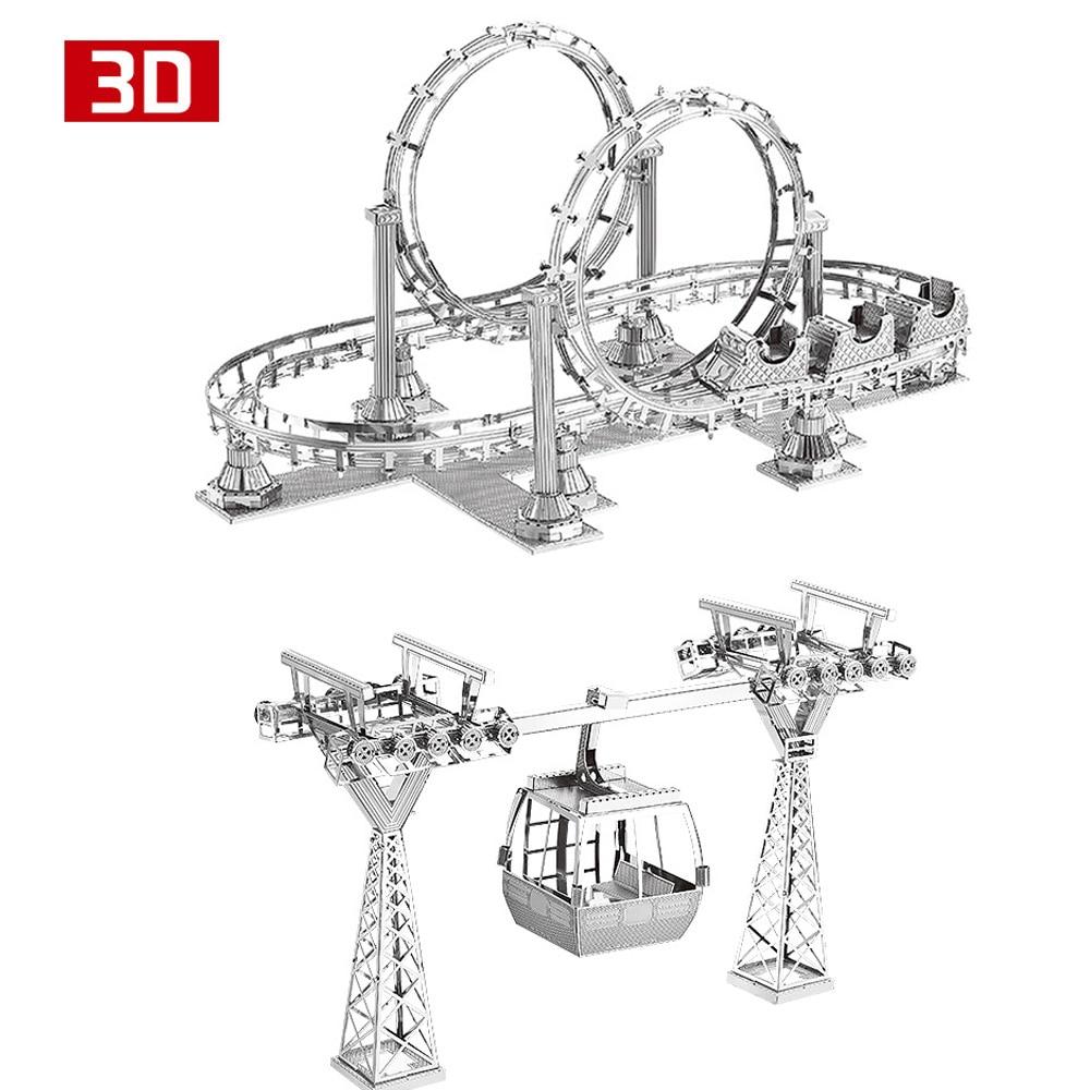 2pcs 3D Metal Nano Puzzle Roller Coaster Cable Car Assemble Model Kit DIY 3D Laser Cut Jigsaw Toy