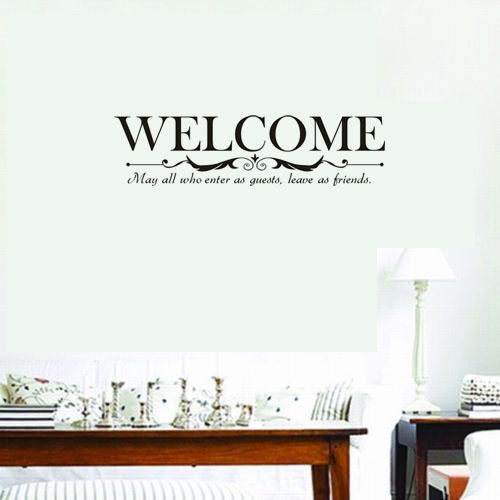 Welcome Enter As Guests Wall Stickers Vinyl Quote Wall Sticker Decor  Inspirational Wall Decals Living Room