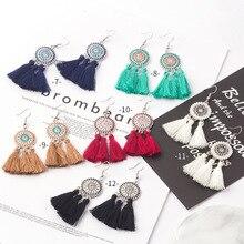 Hello Miss Hot Vintage Round Sun Flower Long Tassel Earrings Bohemian National Wind Trend Women