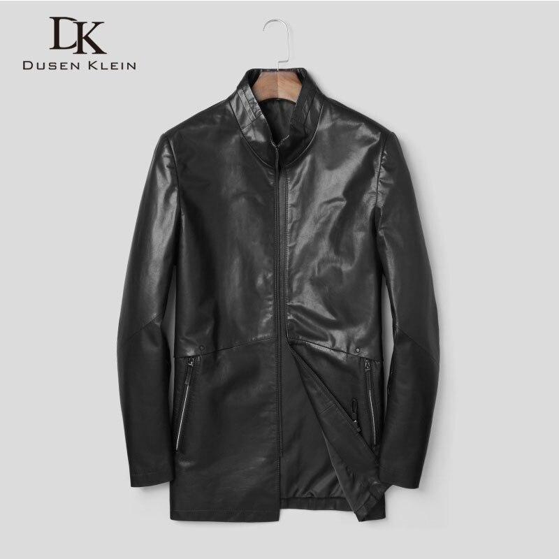 Men's Genuine Leather Jackets and Coats Goat skin Outerwear 2018 New Autumn Designer Brand Fashion Pure Black Jacket J8161