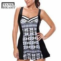 ec7f195ab45fe5 Tank Heart Large Size Swimwear Dress Big One Piece Swimsuit Women With  Skirt Retro Swim May