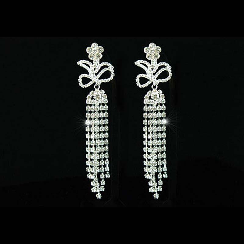 "4.5"" Drag Queen Rhinestone Dangle Clip On Dangle Earrings Pageant Jewelry CE1023"