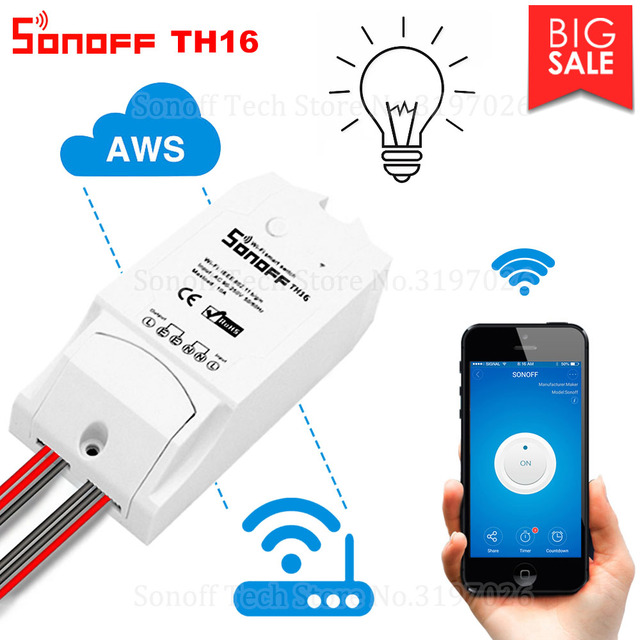 Itead Sonoff TH16 Wifi Smart Switch Support Temperature And Humidity  Monitoring WiFi Smart Home Wireless Switch Works With Alexa-in Home  Automation