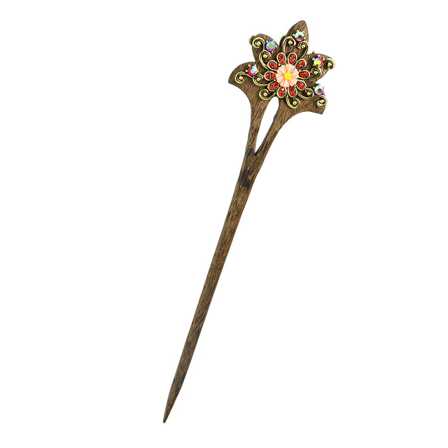 Vintage Wooden Hair Stick with Colorful Rhinestones