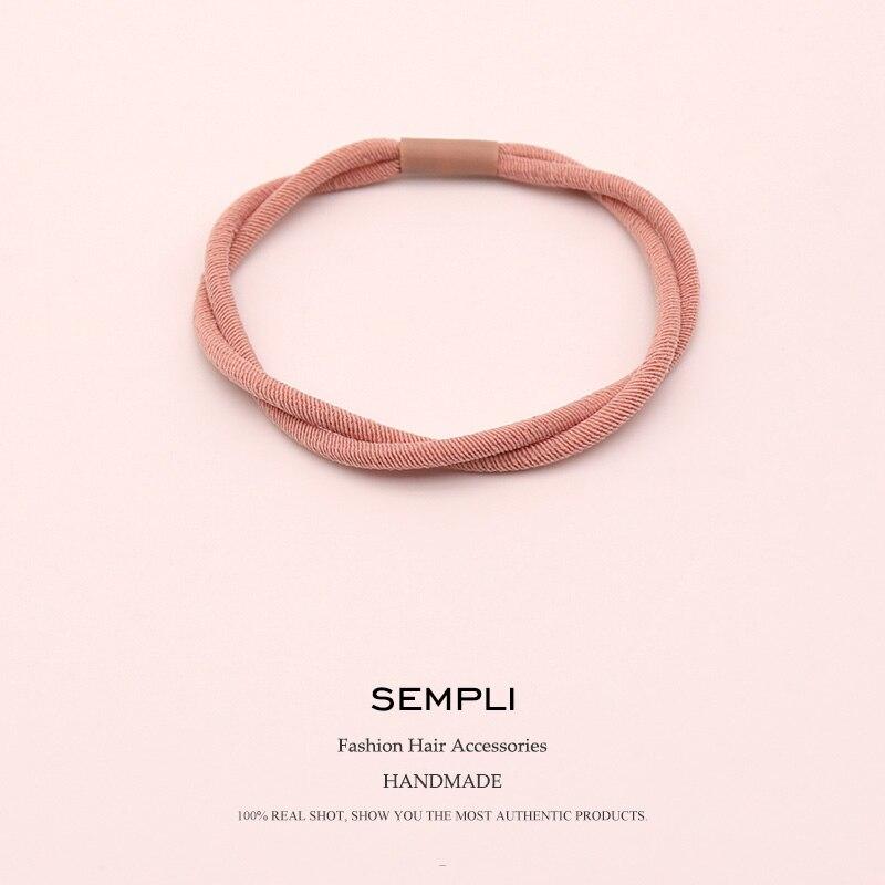 Sempli Korean Women Elastic Hair Band Headband Double Share Bands for Kid Rubber Clip Accessories