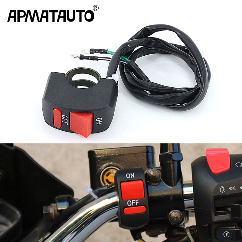 1X Motorbike Universal Motorcycle Switch Handlebar Switch Button ON-OFF For 12v U5 U7 Headlight LED Light Spotlight Accessories