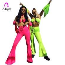 купить Fluorescent Color Women High Waist 2 Piece Set Spaghetti Strap Tassel Crop Top and Flared Pants Retro Suit Plus Size Streetwear по цене 1142.4 рублей