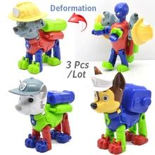 3 Pcs/lot Russian Cartoon Pat Canine Patrol Puppy Dog Toys Action Figures Model Kids Gift Pow Pet Patrulla Canina Juguetes
