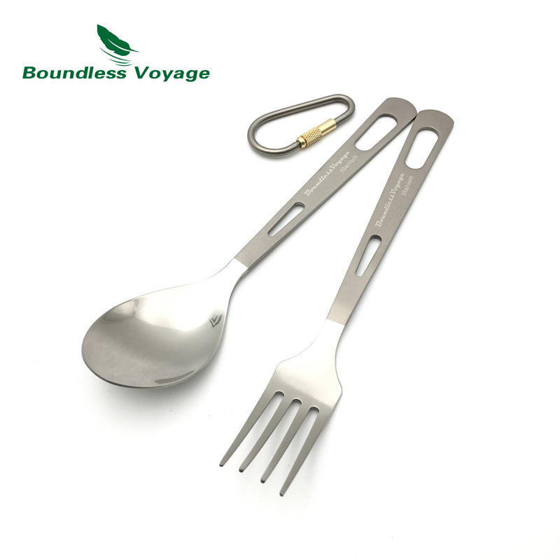 Boundless Voyage Titanium Tableware Spoon Fork Knife Spork Sangkar Set Cutlery untuk Outdoor Camping Utensils Home Use