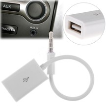 Car MP3 Sync 3.5mm Male AUX Audio Jack Plug To USB 2.0 Female Converter Cable Cord Adapter