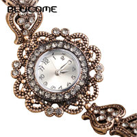 Turkish Watch Bracelet For Women Gold Plated Alloy Crystal Red Resin Bangle Wristwatches Retro Turkey Royal