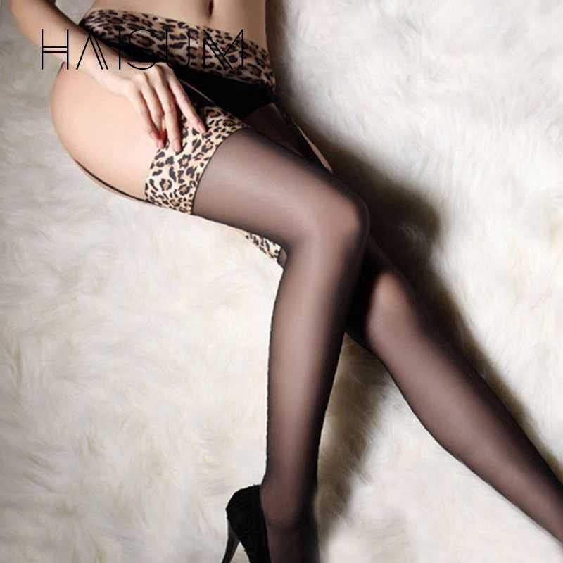 Haisum 2018 新ナイロンガーターストッキング女性のためのホット薄手のタイトなヒョウのストッキング透明膝 Hn35