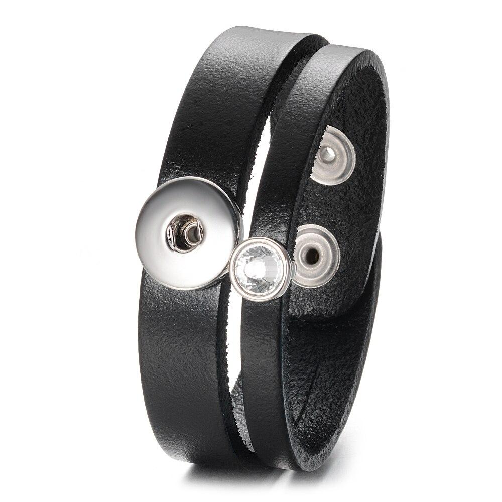 Snap Leather Bracelet Simple Handmade Genuine Leather Snap Bracelet Bangles Fit 18mm Snap Jewelry Chunks