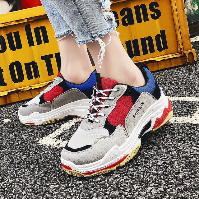 Women's Sneakers Platform Mix Color Vulcanized Shoes Women 2018 Spring Casual Shoes Thick Bottom Daddy Footwear Wedge Sneakers