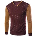 New Arrival Korean Style 2015 High Quality Stitching Color Warm Sweater Male Stripe Dot Cashmere Sweater  4Color M-3XL