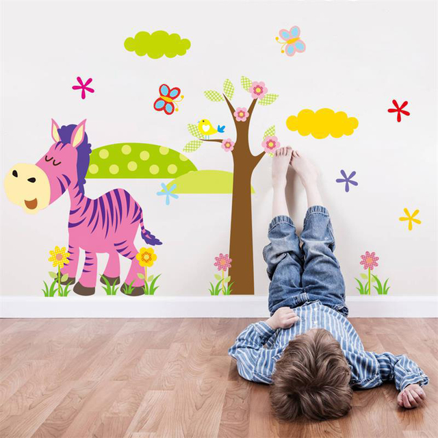 Cartoon Animal Tree Wall Stickers Kids Baby Children Room Decor Home Decoration Wallpaper Decal Vinyl
