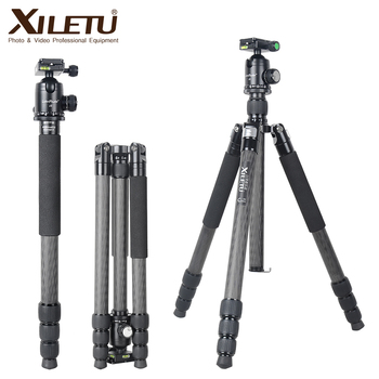 XILETU L334C+J2 Heavy Duty Professional Carbon Fiber Camera Tripod Travel Stand for DSLR Digital Camera with Panorama Ball Head