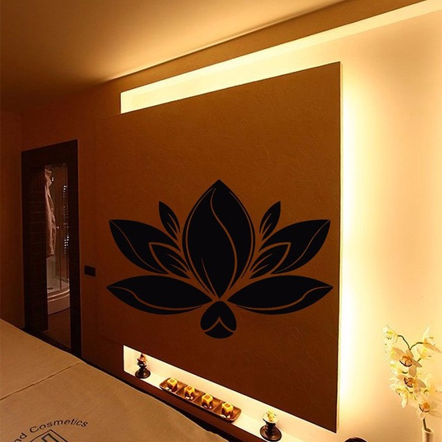 beauty salon vinyl wall decal spa salon decor lotus flower art wall