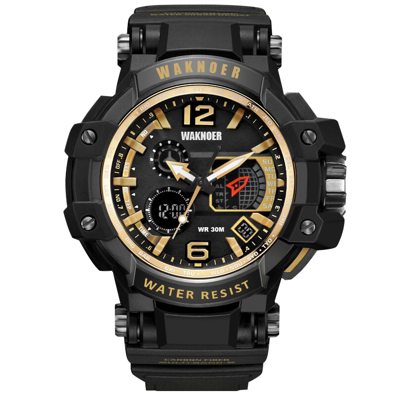WAKNOER Ouro Esporte Relógios para Homens À Prova D' Água Relógio Digital de LED Relógio de Pulso dos homens Homem Casual 30 M Relogio masculino saat