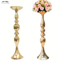 10PCS Gold Candle Holders/Stands 50cm/32cm Stand Flowers Floor Vase Metal Candlestick Candelabra Wedding Centerpieces Deco 098