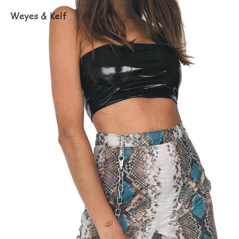 Weyes & Kelf Summer Solid Pu Short Tank Tops Women 2018 New Sexy Wrapped Chest Off The Shoulder Crop Tops For Women Sexy Bustier
