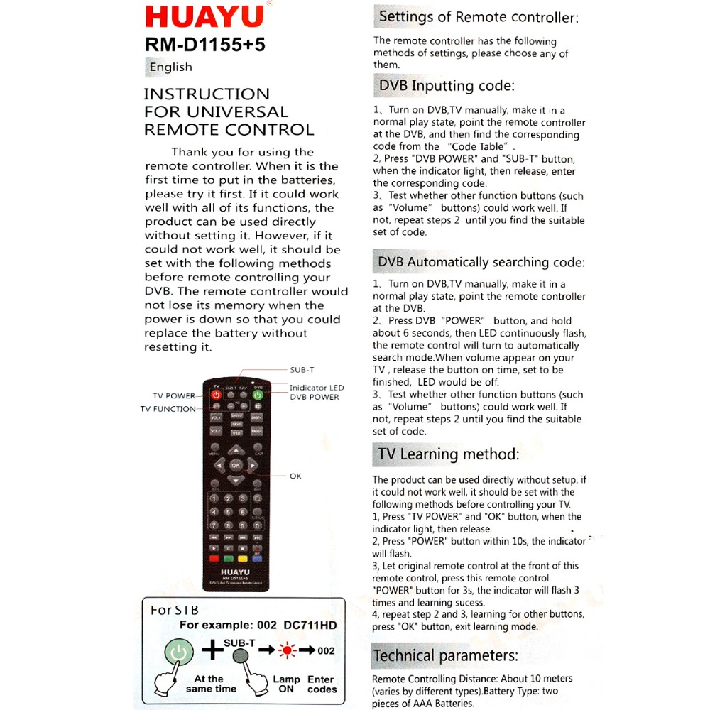 UNIVERSAL tv remote control controller dvb-t2 remote rm-d1155 sat Satellite  television receiver huayu