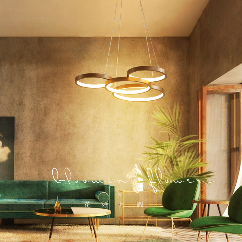 Luxury Modern chandelier LED circle ring chandelier light for living room Acrylic Lustre Chandelier Lighting coffce color 85-265Luxury Modern chandelier LED circle ring chandelier light for living room Acrylic Lustre Chandelier Lighting coffce color 85-265