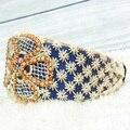 Retail azul rhinestone de la flor Vendas del cordón, alicia, venda Del Pelo para las mujeres